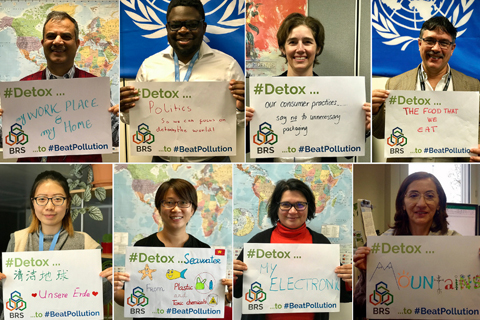 BRS staff members show their support for UNEA-3's message to Beat Pollution