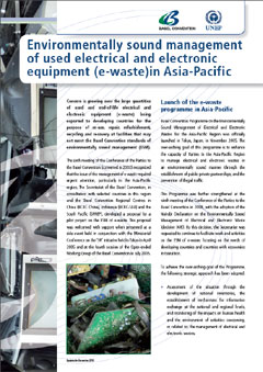 Environmentally sound management of used electrical and electronic equipment (e-waste) in Asia-Pacific
