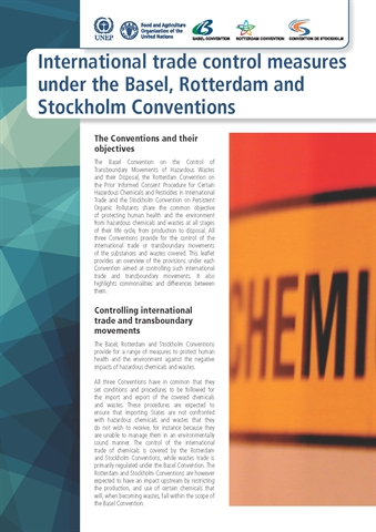 International trade control measures under the Basel, Rotterdam and Stockholm Conventions